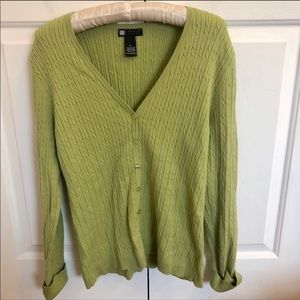 Carole Little green cable knit v-neck cardigan